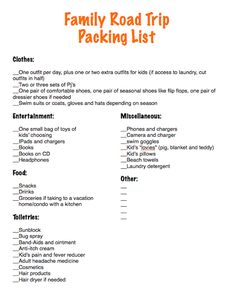 Family Road Trip Packing List  I would add some kind of motion sickness medicine and pepto, just to be safe...