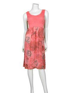 Kleid mit Blütenprint, lachs - fashion made in italy