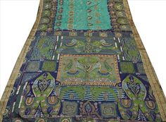 SANSKRITI VINTAGE INDIAN SAREE PURE SILK GREEN BLUE SARI FABRIC PAINTED ELEPHANT #SanskritiVintage