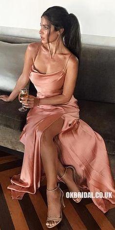 Low Back Spaghetti-Trägern Scoop Neck Prom Kleid mit Schlitz - New Ideas Grad Dresses, Satin Dresses, Ball Dresses, Sexy Dresses, Bridesmaid Dresses, Formal Dresses, Backless Dresses, Satin Formal Dress, Blush Prom Dress