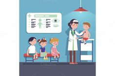 Pediatrician doctor examining kids. $3.00