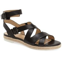 Marc Fisher LTD 'Alysse' Flat Sandal (Women) ($30) ❤ liked on Polyvore featuring shoes, sandals, black leather, leather platform sandals, flat sandals, flat platform sandals, leather platform shoes and summer flat shoes