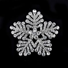 18K WHITE GOLD FILLED CLEAR CRYSTAL SNOWFLAKE BROOCH SPARKLING