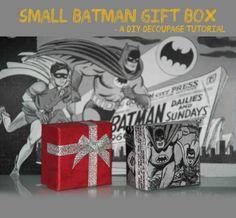 DIY Batman gift box tutorial Diy Decoupage Tutorial, Batman Gifts, Box, Snare Drum