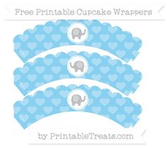 *****FREE****** Free Baby Blue Heart Pattern  Baby Elephant Scalloped Cupcake Wrappers