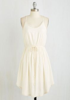 Right to Delight Dress in Pearl. Its only natural that a bohemian-minded beauty like you would rock this ivory dress! #white #modcloth