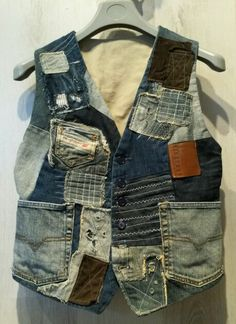 """My first attempt at a patchwork/Boro waistcoat"" (original pinner)"