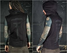 Cyberpunk Clothing and Rave Outfit as Futuristic Clothing. The perfect Rave Wear in Mad Max Style | Cyberpunk Jacket  The Totem Vest Black is a high quality travel vest with a unique design. The back pattern is made from the inside out so it will give a more 3 dimensional look. The boarders of the Rave Outfits, Cool Outfits, Jedi Outfit, Cyberpunk Clothes, Alternative Fashion, Alternative Men, Rave Wear, Cotton Fleece, Festival Outfits