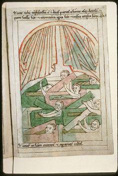 Amiens - BM - ms. 0108, f. 189 Bible en images / Voile du Temple déchiré et résurrection des corps de saints