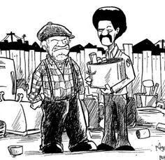 """Artwork of Fred """"G"""" Sanford and his son Lamont Separate the stars of the classic TV show Sanford and Son. Actors Redd Foxx and Demond Wilson. Steptoe And Son, Redd Foxx, Sanford And Son, The Good Son, Funny Caricatures, Old Tv Shows, Old Dogs, People Art, Classic Tv"""