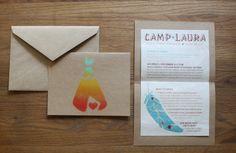 beautiful gradient handmade Teepee Invites for girls camping trip