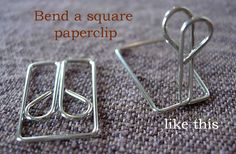 Place card or picture holder made from a square paperclip