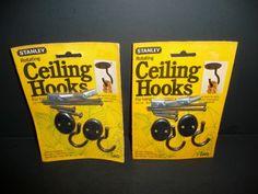Lot Of 2 Vintage Stanley CD726 Black Rotating Ceiling Hooks (2 Packs 2 In Each) #Stanley