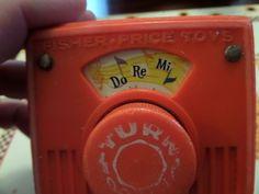 Fisher Price 1969 Wooden #759 Music Box Pocket Radio Do Re Mi Works #FisherPrice