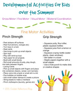 Developmental Activities for Kids: Free Printables Fine motor skills for summer using pinch and grip strength. Fine motor skills for summer using pinch and grip strength. Fine Motor Activities For Kids, Motor Skills Activities, Toddler Learning Activities, Gross Motor Skills, Summer Activities, Educational Activities, Preschool Activities, Educational Websites, Infant Activities