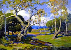 A California Woodland Artwork By Franz Bischoff Oil Painting & Art Prints On Canvas For Sale Beautiful Paintings Of Nature, Nature Paintings, Landscape Paintings, Oil Paintings, Beautiful Landscapes, Jig Saw, Comics Illustration, Illustrations, American Impressionism