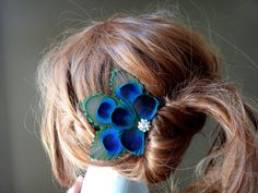 Bridesmaid Peacock feather hair clip comb by DressMyWedding, $20.00