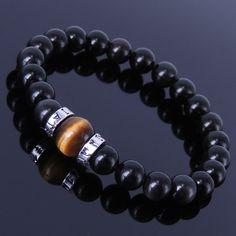 Men/Women Gemstone Bracelet Black Obsidian Tiger Eye 925 Sterling Silver Spacer #DIYKARE #MenWomenGemstoneSilverElasticBracelet