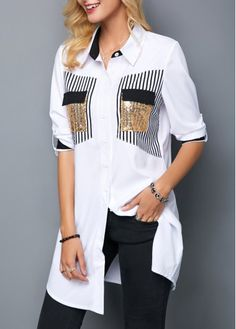 Surprisingly Cute Women Shirts from 35 of the Trending Women Shirts collection is the most trending fashion outfit this season. This Women Shirts look related to outfit, fashion, casualoutfit and fash Casual Skirt Outfits, Trendy Outfits, Modest Fashion, Fashion Outfits, Womens Fashion, Fashion Hacks, Trendy Tops For Women, How To Roll Sleeves, Elegant Outfit