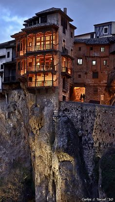 Casas Colgadas (Cuenca), Spain - I have been here! Those balconies are overlooking a HUGE cliff and apparently are restaurant tables.