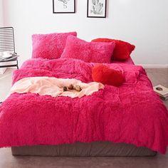 Fluffy Velvet Fleece Quilt Cover Bed Set (4/6/7 pcs) - Hot Pink