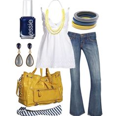 love how Navy, grey, & yellow look together.LOVE the yellow purse Estilo Fashion, Fashion Moda, Look Fashion, Ideias Fashion, Fashion Outfits, Womens Fashion, Fashion Rings, Fashion Ideas, Grey Yellow