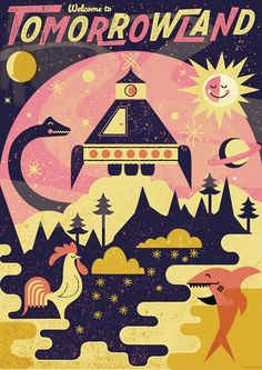 campaign illustration A vision of the future illustrated by Telegramme and based on a brief given by a four year old. The poster is part of a campaign by the Central Illustration Agency and AMVBBDO for the Vamp;A Museum of Childhood Retro Illustration, Graphic Design Illustration, Graphic Art, Retro Kunst, Retro Art, Museum Of Childhood, Creative Review, Kunst Poster, Affinity Designer