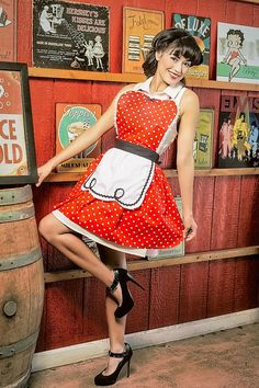 apron  LUCY style ...... Retro fifties red polka dot apron black details a sexy hostess gift is vintage 50s inspired womens full