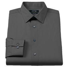 Men's Apt. 9® Slim-Fit Stretch Spread-Collar Dress Shirt, Size: 17.5-32/33, Grey
