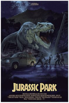 """Jurassic Park  by Stan & Vince. 24""""x36"""" screen print. Hand numbered. Edition of 375. Printed by D&L Screenprinting."""