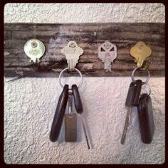 DIY key hooks — for all those keys I'll never find the locks for, & there are a million of them!!