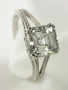 Asscher Cut Diamond Antique Engagement Ring  .This is one of my favorites. I love this cut!