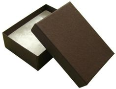 """100 Cotton Filled Boxes, 2 1/8"""" x 1 5/8"""" x 3/4"""" , Brown size #11 Jewelers Supermarket"""