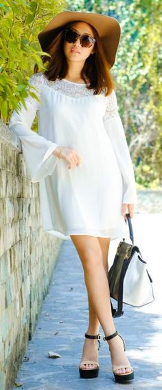 aba9b95aa5d2 Bell sleeve trend + cute and simple white lace dress + feminine + graceful  + perfect