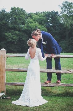 """Backless Long Sleeve Crochet Lace Wedding Dress - """"Lola"""" by Daughters of Simone"""