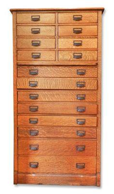 Quarter sawn oak printer's cabinet