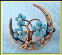 Gold and Enamel Crescent Moon and Flowers Pin