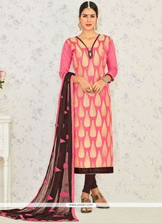 Lace Banarasi Silk Churidar Suit In Rose Pink Model: YOS8504