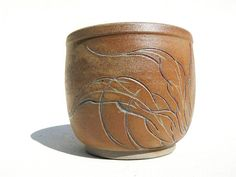 white stoneware carved Yunomi teabowl japanese tattoo