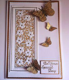 ..... by Marjorie Ramsay - Floral Meadow striplet - peel off butterflies- computer generated greeting.