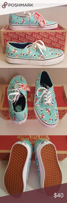 NWT VANS Cat in the Summer Shoes So adorable, this cool cat is ready for a swim.  Cute and fun shoes in aqua sea color for you or for that cat lover in your life.  Cushioned footbed for extra comfort.   Size: Women: 7/Men 5.5 Vans Shoes Sneakers