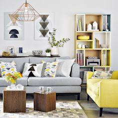 decoração de sala sofá cinza e amarelo