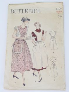 Vintage Butterick Pattern No. 5100 Sewing Pattern: -Butterick Pattern No. Womens classic style coverall apron with options for trim, pockets and criss-cross straps in back with ties. The envelope has some minor tattering on the flap area. Vintage Apron Pattern, Aprons Vintage, Vintage Sewing Patterns, Apron Patterns, Vintage Dress, Pantalon Thai, Sewing Aprons, Sewing Projects For Kids, Love Sewing