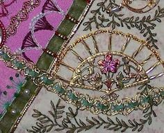 CRAZY QUILTING INTERNATIONAL: All That Glitters Gerry applied some of her painting skills to this brass fan, then beaded and further enhanced it with beading and stitching.
