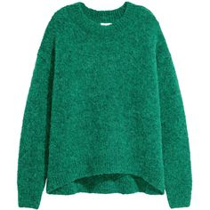 Wool-blend Sweater $69.99 (€59) ❤ liked on Polyvore featuring tops, sweaters, green jumper, green sweater, drop shoulder sweater, chunky knit sweater and green top