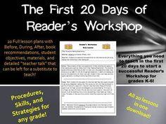 First 20 Days of Reader's Workshop Mini Lessons for Grades K-6 $$