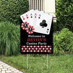 Tell everyone where the party is when you welcome your friends and family with a Las Vegas - Casino Party lawn sign. This reusable party sign is waterproof, making it perfect for any outdoor space. Displaying your Las Vegas - Casino Party welcom Las Vegas Party, Vegas Theme, Casino Night Party, Casino Party Decorations, Casino Theme Parties, Party Themes, Lawn Decorations, Themed Parties, Party Ideas