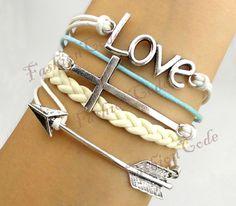 Love Arrow & Cross BraceletAntique Silver by TheGiftoftheMagi
