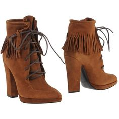 Giuseppe Zanotti Design Ankle Boots ($670) ❤ liked on Polyvore featuring shoes, boots, ankle booties, brown, leather ankle boots, suede fringe booties, brown leather bootie, bootie boots and brown booties