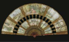 Cabriolet fan signed Van Garden, painted with ten vignettes with lovers in 18th century dress, the verso lined with silk gauze, the blonde tortoiseshell sticks carved, pierced and gilt with flowers and arranged so that the guardsticks and four sticks are displayed across the leaves, the verso signed Ernest Kees--9.5in., French, circa 1890, Sold at Christie's for £720 ($1,377)